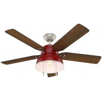 "Hunter Mill Valley 52"" LED Outdoor Ceiling Fan in Barn Red"