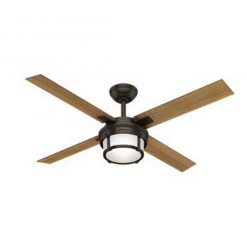 "Hunter Maybeck 52"" LED Indoor Ceiling Fan in Bronze/Brown"