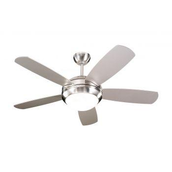 "Monte Carlo 44"" Discus II Ceiling Fan in Brushed Steel"