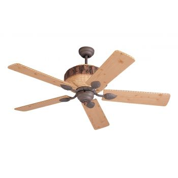 """Monte Carlo 52"""" Great Lodge Ceiling Fan in Weathered Iron / Lodge Pine"""