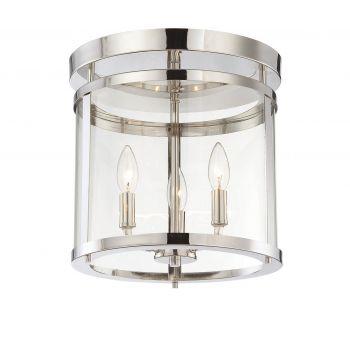 Savoy House Penrose 3-Light Flush Mount in Polished Nickel