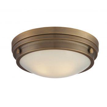 Savoy House Lucerne 2-Light Flush Mount in Warm Brass