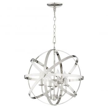 "Quorum Celeste 19"" 4-Light Chandelier in Polished Nickel"
