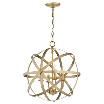 "Quorum Celeste 19"" 4-Light Chandelier in Aged Brass"