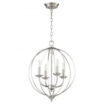 "Quorum Flora 15.25"" 4-Light Chandelier in Satin Nickel"