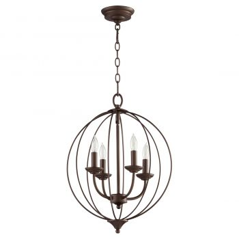 "Quorum Flora 15.25"" 4-Light Chandelier in Oiled Bronze"