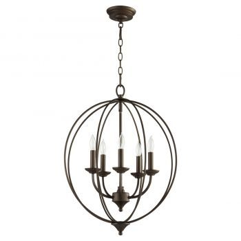 "Quorum Flora 19.25"" 5-Light Chandelier in Oiled Bronze"