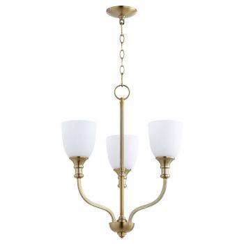 """Quorum Richmond 18"""" 3-Light Chandelier in Aged Brass"""