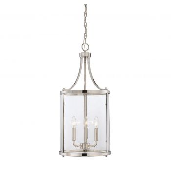 Savoy House Penrose 3-Light Foyer Lantern in Polished Nickel