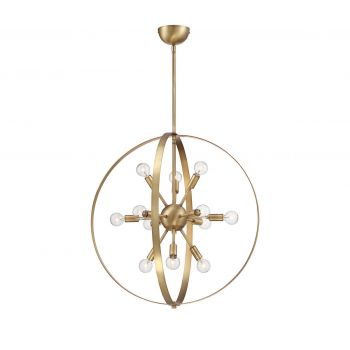 Savoy House Marly 12-Light Chandelier in Warm Brass