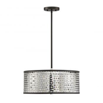 "Savoy House Leeds 18"" 3-Light Pendant in Chrome/Metallic Bronze"