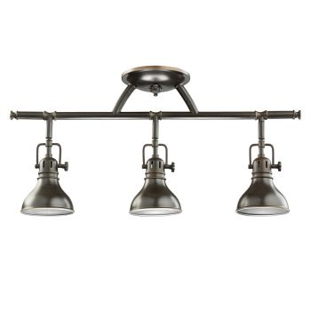 Track lighting industrial contemporary led track lighting more kichler fixed rail 3 light rail light in olde bronze aloadofball Choice Image