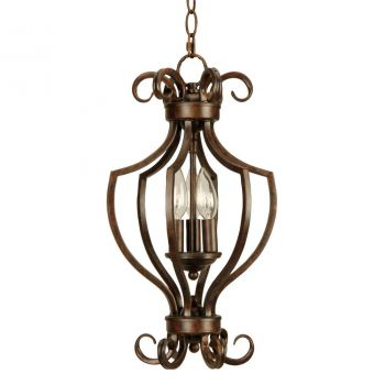 Jeremiah Cecilia 3-Light Chandelier in Bronze w/Amber Frost Glass
