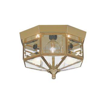 Sea Gull Lighting Grandover 3-Light Ceiling Flush Mount in Polished Brass