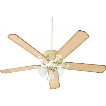 """Quorum Chateaux Uni-Pack 60"""" 3-Light Ceiling Fan in Persian White"""