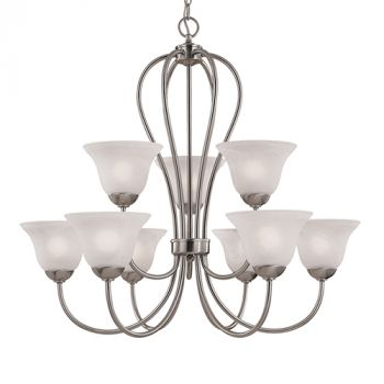 Millennium Lighting Main Street 9-Light Chandelier in Satin Nickel