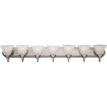"Maxim Essentials 48"" 7-Light Marble Glass Bath Vanity in Satin Nickel"