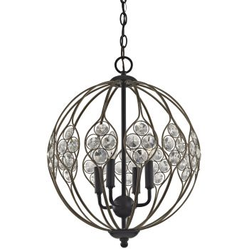 "Elk Lighting Crystal Web 16"" 4-Light Chandelier in Bronze Gold/Black"