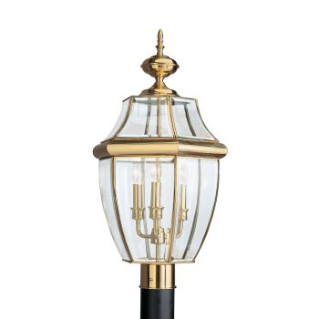 Sea Gull Lighting Lancaster 3-Light Outdoor Post Lantern in Polished Brass