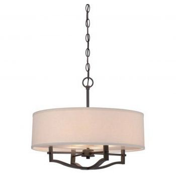 Minka Lavery 3-Light Drum Pendant in Vintage Bronze