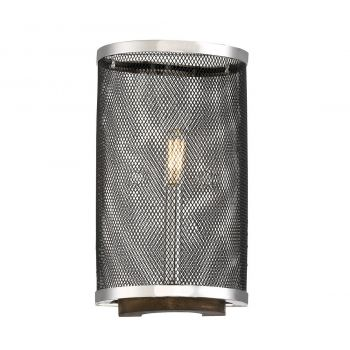 Savoy House Valcor 1-Light Sconce in Polished Nickel w/ Graphite & Wood accents