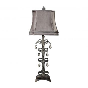 "Dimond Castello 37"" Teak Crystal Table Lamp in Durand Finish"