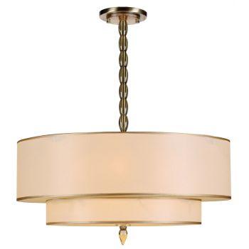Crystorama Luxo 5-Light Drum Shade Chandelier in Antique Brass