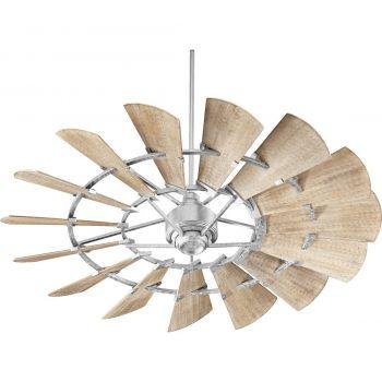"Quorum Windmill 60"" 15-Blade Indoor Ceiling Fan in Galvanized"