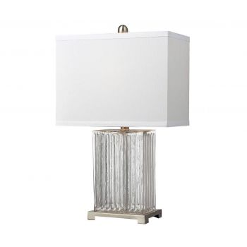 "Dimond HGTV 24"" Clear Ribbed Glass Table Lamp with Brushed Steel"