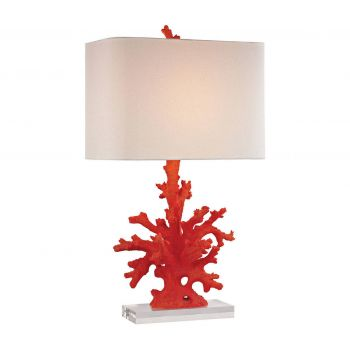 "Dimond Red Coral 28"" Table Lamp in Red"