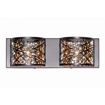 ET2 Inca 2-Light Bath Vanity in Bronze w/Cognac Glass