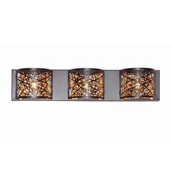 ET2 Inca 3-Light Bath Vanity in Bronze w/Cognac Glass