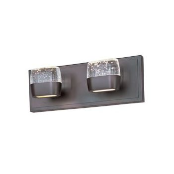 "ET2 Volt LED 14"" 4-Light Etched/Bubble Glass Bath Vanity in Bronze"