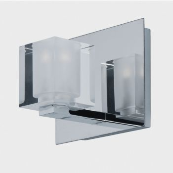 "ET2 Blocs LED 6"" Clear Glass Bath Vanity in Polished Chrome"