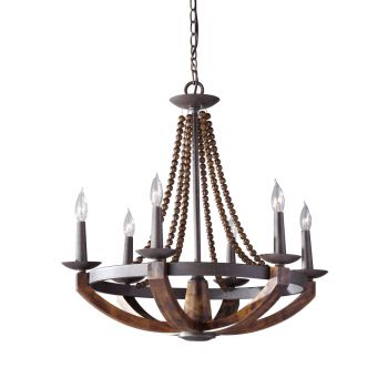 Feiss Adan 6-Light Chandelier in Rustic Iron and Burnished Wood Finish