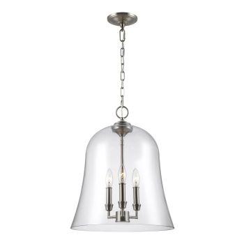 Feiss Lawler Bell Pendant Light in Satin Nickel
