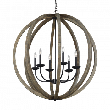 Feiss Allier 6-Light Chandelier in Weathered Oak/Antique Forged Iron
