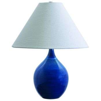 "House of Troy Scatchard 19"" Stoneware Accent Lamp in Blue Gloss"