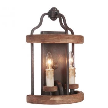 Craftmade Ashwood 2-Light Wall Sconce in Textured Black & Whiskey Barrel
