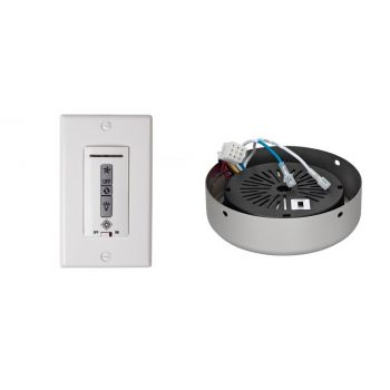 Monte Carlo Wired Wall Remote w/ White Switch Plate & Receiver Hub in Brushed Pewter