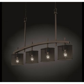 Justice Design Archway 4-Downlight Bar Chandelier in Dark Bronze