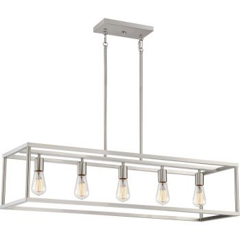 """Quoizel New Harbor Open 38"""" Linear Pendant in Brushed Nickel"""