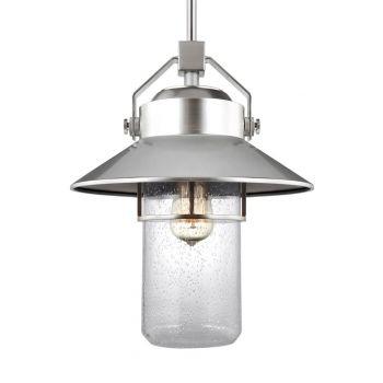 "Feiss Boynton 15.5"" Outdoor Pendant Lantern in Painted Brushed Steel"