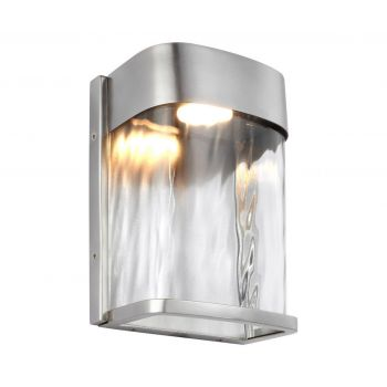"""Feiss Bennie 8"""" LED Outdoor Wall Lantern in Painted Brushed Steel"""