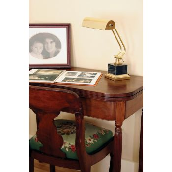 """House of Troy 10"""" Polished Brass / Black Marble Piano Desk"""
