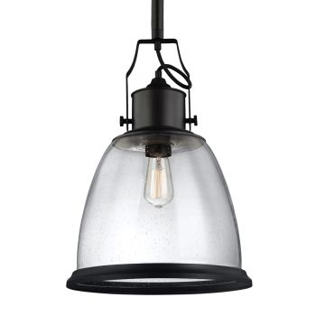 """Feiss Hobson 14"""" Pendant in Oil Rubbed Bronze w/ Clear Seeded Glass"""
