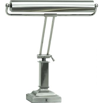 """House of Troy 15"""" Piano Lamp in Satin Polished Nickel"""