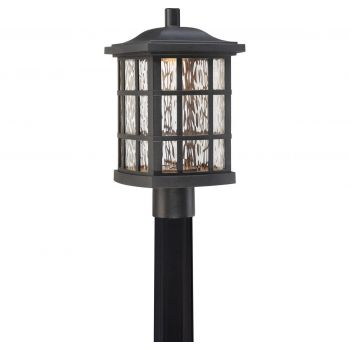 "Quoizel Stonington LED 16.5"" Outdoor Post Lantern in Mystic Black"