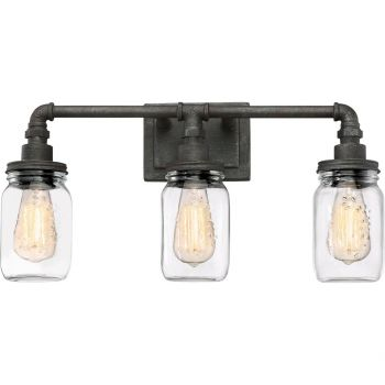 """Quoizel Squire 21.5"""" 3-Light Clear Glass Bathroom Vanity Light in Rustic Black"""