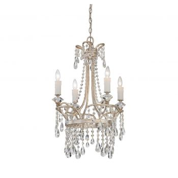 """Quoizel Tricia 21"""" Chandelier in Vintage Silver"""